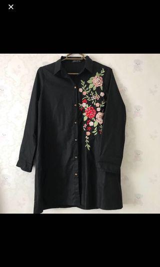 Black flowery top