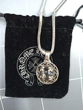 純銀 水晶鏈墬+不鏽鋼項鍊