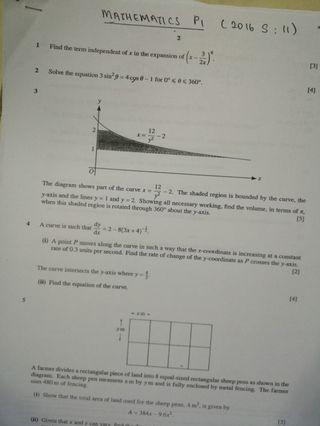 Mathematics Alevels P1 past years (sheets)