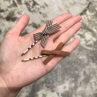 韓國小清新蝴蝶結布面髮夾