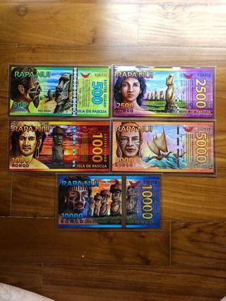 A Full Set of Easter Island Currencies 2011 - 2013 UNC Condition