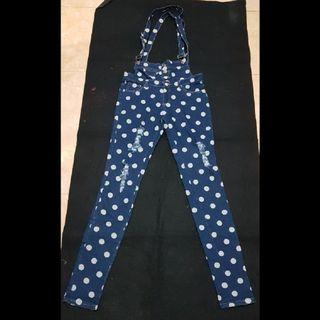 Overall jeans polkadot ripped