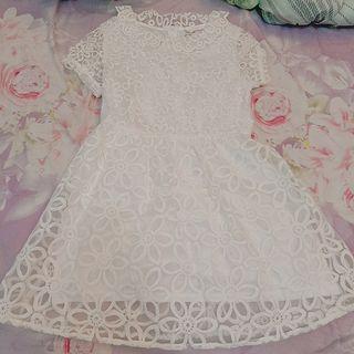 優雅白氣質蕾絲洋裝