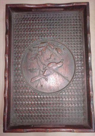 早期精雕花鳥茶盤 34公分ㄨ23公分 4500元 不含運