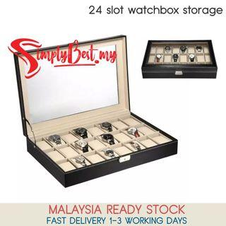SIMPLYBEST Luxury Premium Quality 24 Slot Watch Box PU Leather Container Storage Display Box