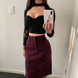 Purple Denim Skirt New With Tags