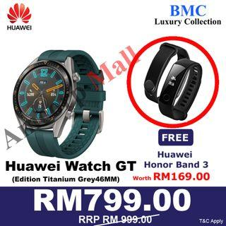 Huawei Watch GT Active Edition Titanium Grey Stainless Steel New Set Ready Stock