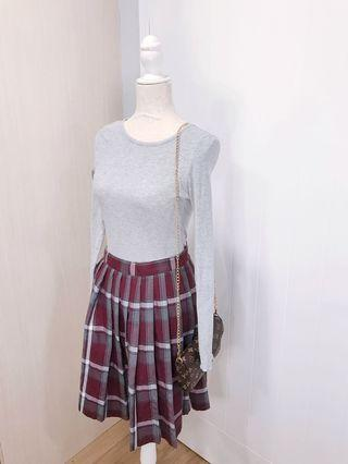 Two-piece Set- Retro Vintage Long sleeve shirt and highwaisted skirt
