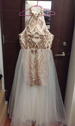 韓系女神後擺長紗亮片洋裝