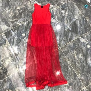 Preowned Bright Red Padded Maxi Long Dress (Gown)
