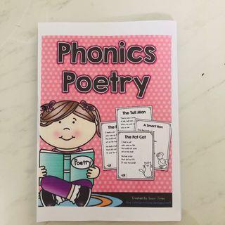 Phonics English Book Workbook Worksheets Assessment Homework Reading Poems Poetry
