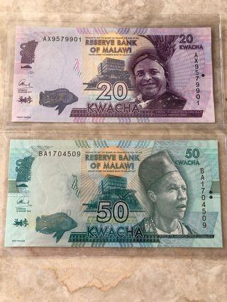 🚚 🇲🇼20 & 50 Kwacha Malawi Set 🇲🇼Condition: UNC