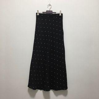 🚚 全新現貨💐黑色雪紡點點長裙