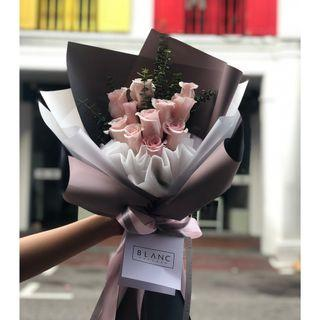 🚚 Pink Roses Bouquet | 🌹 KUNZITE - 11 Roses ['I love you with all my heart'] 我爱你一心一