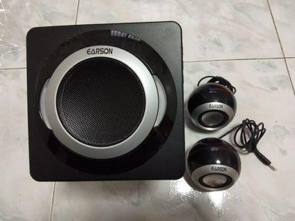 Earson subwoofer with 2 satellite speakers
