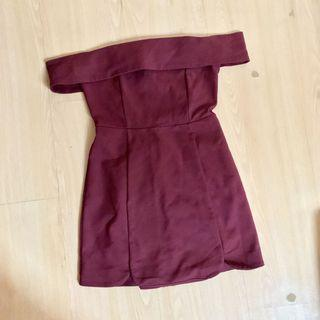 🚚 Jamae Wine Red Maroon Burgundy Off Shoulder Romper