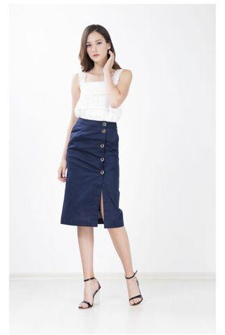 🚚 Button Linen skirt in navy blue