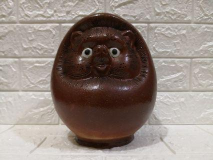 Vintage Japanese Raccoon cat pottery coins bank