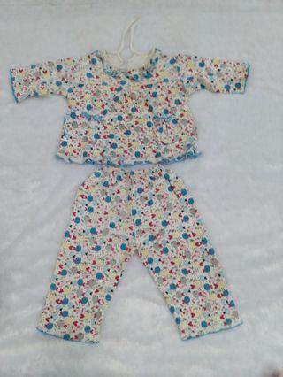 Setelan biru motif baby girl