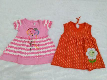 Dress Baby pink dan orange (paket)