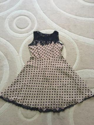 Polka dot dress with sexy lace top