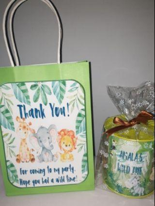 Customised jungle animals goodie bag