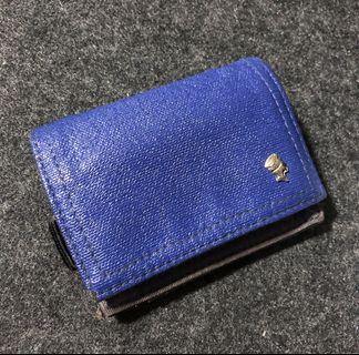 PORTER INTERNATIONAL ROYAL BLUE LEATHER COIN POUCH PURSE