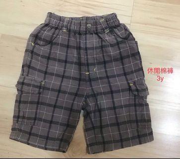 男童格子型男潮褲