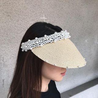 🚚 韓 珍珠草編 遮陽帽