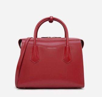 Charles & Keith Basic Structured Bag Handle Bag Red