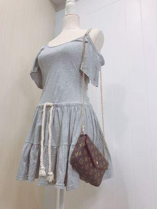 Boho Grey Tie Offshoulder Dress