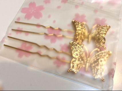 金色蝴蝶髮叉 中式婚禮 裙褂用
