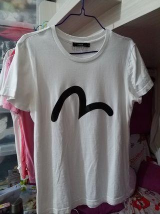 八成半新 韓國版 evisu 白色t-shirt tee 韓國製 made in korea