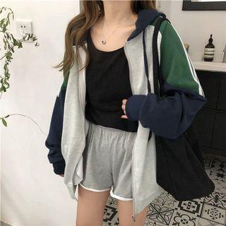 #301 ulzzang zip up jacket hooded hoodie colourblock vintage green grey blue stripes pullover oversized