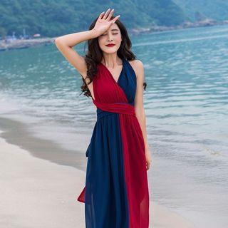 🚚 #302 red blue flowy v neck chiffon maxi dress beach bohemian backless wrap two tone