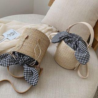 Straw rattan bucket ribbon bow bag (PO)