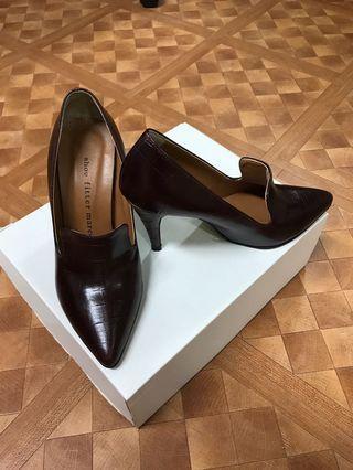 韓國 皮製 3寸高根鞋 23.5號 (相等於36.5號鞋) Leather High Heel Shoes