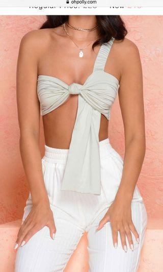 Oh polly knot front bralette top in sage