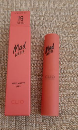 🚚 Clio Mad Matte 霧面唇膏 色號19 Coral Soul