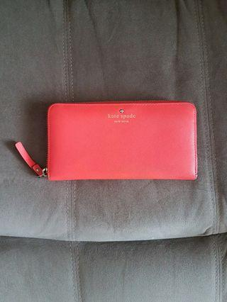 Kate Spade Mikas Pond Lacey Flo Coral Zip Wallet