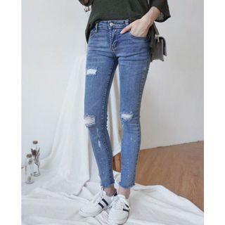 【全新】SWEESA|微刷破牛仔緊身褲|尺寸: L號|百搭必備款