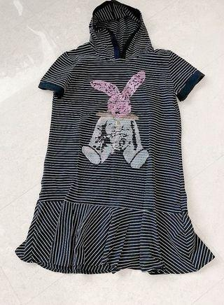Cute bunny black and white stripes one pieces with hats from HK