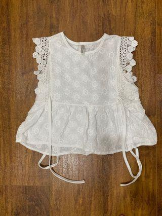 White lace embroidery tassel high waist doll shirt