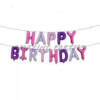 Pink, Purple & White Happy Birthday Party Decoration Foil Balloon Set