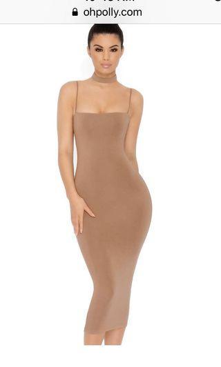 Oh polly midi dress in brown/tan