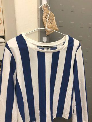 正品(韓)Mixxo 直條紋顯瘦長袖T恤-藍色