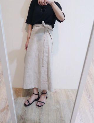 一件式 麻料 綁帶裙