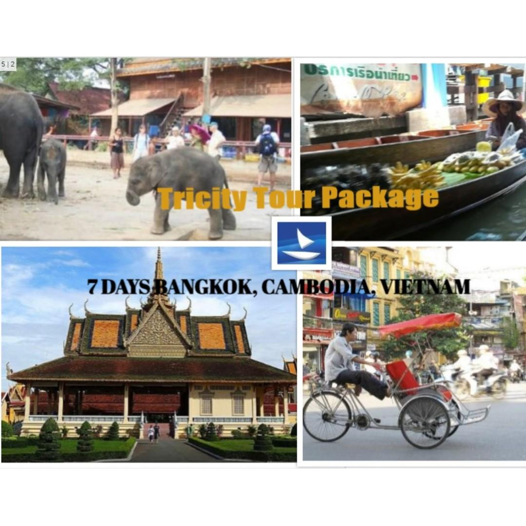 7 days Bangkok, Cambodia, Vietnam- Tricity Tour Package