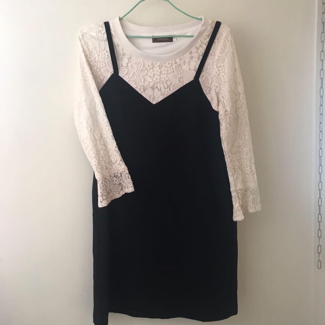 【流行品牌 nice ioi 】假兩件式長版蕾絲上衣