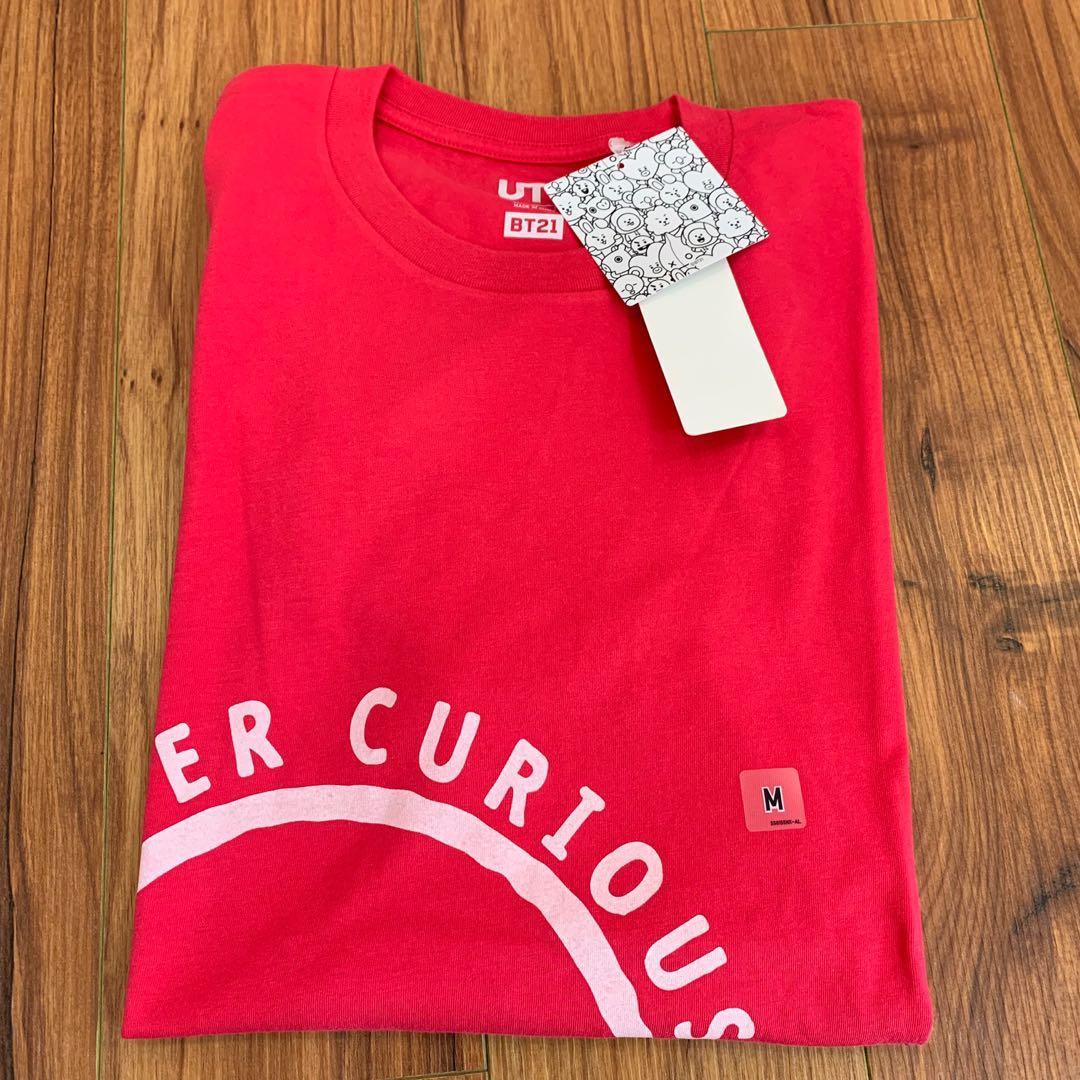 BT21 M size Super Curious Tata 2 pink red unisex Uniqlo men women tshirt top t-shirt short sleeve BTS